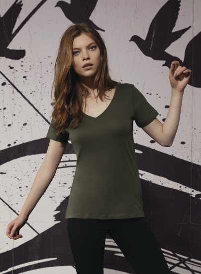 Organic T-shirt V-neck women