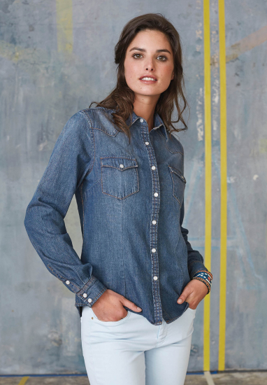 Dames Denim Blouse Met Lange Mouwen